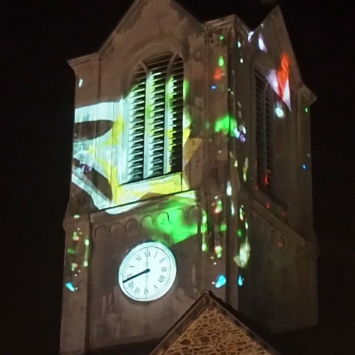 Video-mapping Retiers, Ille et Vilaine, Bretagne.